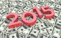 Rojo 2015 en el fondo de cientos billetes de dólar Foto de archivo