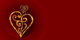 Rojo, fondo del color de Borgoña con los corazones Un fondo real del color de Borgoña con los corazones del oro de la joyería stock de ilustración