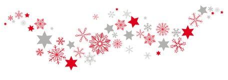 Rojo Gray Snowflakes Stars Flat Banner de la Navidad stock de ilustración