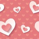 Rojo inconsútil del modelo del fondo hermoso con los corazones florecientes blancos Papel pintado moderno del amor Fotos de archivo libres de regalías