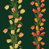 Rojo inconsútil floral de la pizca del modelo del vector, naranja, melocotón y tulipán amarillo stock de ilustración