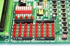 Rojo llevado en tarjeta de circuitos Imagen de archivo libre de regalías