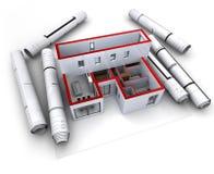 Rojo modelo arquitectónico del diseño Foto de archivo