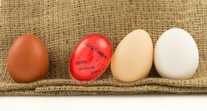 Rojo moderno, contador de tiempo plástico de la cocina con los huevos fotografía de archivo