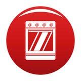 Rojo moderno del vector del icono del horno de gas stock de ilustración
