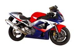 Rojo - motocicleta azul Imágenes de archivo libres de regalías