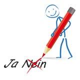 Rojo Pen Yes No de Stickman Fotografía de archivo