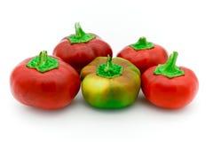 rojo pequeñas pimientas dulces italianas amarillas Imagen de archivo