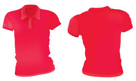Rojo Polo Shirts Template de las mujeres Fotografía de archivo libre de regalías