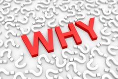 Rojo PORQUÉ palabra alrededor de preguntas. Foto de archivo