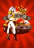 Rojo retro del diseño del partido de la raza del motor Foto de archivo libre de regalías