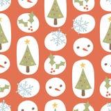 Rojo retro del modelo lindo de la Navidad Imagen de archivo