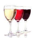 Rojo, rosa y vino blanco en vidrios de un vino Fotografía de archivo