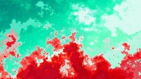 Rojo sangriento video manchado animado del lazo inconsútil del fondo y azules turquesa y colores verdes de la aguamarina almacen de metraje de vídeo