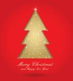 Rojo y árbol de navidad del oro libre illustration