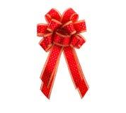 Rojo y arco y cinta del regalo del oro Imágenes de archivo libres de regalías