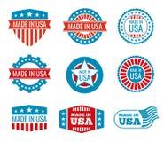 Rojo y azul hechos en los emblemas de los E.E.U.U. fijados libre illustration