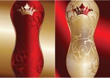 Rojo y bandera adornada del oro Imagen de archivo libre de regalías