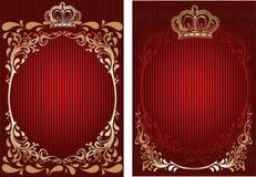 Rojo y bandera adornada real del oro. Imágenes de archivo libres de regalías