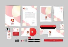 Rojo y blanco con la plantilla H de la identidad corporativa del triángulo Fotos de archivo libres de regalías