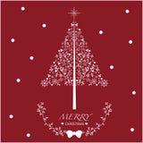 Rojo y blanco de la tarjeta de Navidad Fotografía de archivo libre de regalías