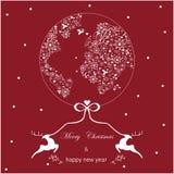 Rojo y blanco del mapa del mundo de la tarjeta de Navidad Imágenes de archivo libres de regalías