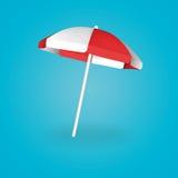 Rojo y blanco del parasol de playa Ilustración del vector Fotos de archivo