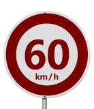 Rojo y blanco muestra del límite de velocidad de 60 kilómetros stock de ilustración