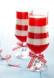 Rojo y blanco raya el postre Fotos de archivo libres de regalías