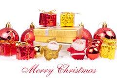 Rojo y combinación del oro de ornamentos de Navidad Imagenes de archivo