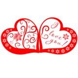 Rojo y corazones color de rosa con título Fotos de archivo libres de regalías