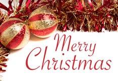 Rojo y decoraciones de la Navidad del oro Fotografía de archivo libre de regalías