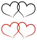 Rojo y ennegrezca el clip art de dos corazones ilustración del vector