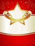 Rojo y estrellas del oro Imagen de archivo libre de regalías