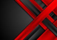 Rojo y fondo abstracto de la tecnología de las rayas negras Fotos de archivo libres de regalías
