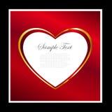 Rojo y fondo del marco del corazón del oro Foto de archivo