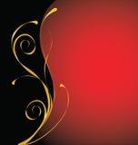 Rojo y fondo del ornamental del oro Foto de archivo libre de regalías