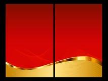 Rojo y fondo del oro, frente y parte posterior abstractos Imagenes de archivo