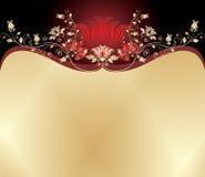 Rojo y fondo floral del oro stock de ilustración