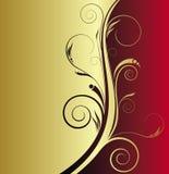 Rojo y fondo floral del oro Foto de archivo libre de regalías