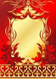Rojo y marco del oro Fotos de archivo libres de regalías