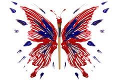 Rojo y mariposa pintada azul Foto de archivo libre de regalías