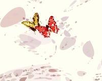 Rojo y mariposas del oro ilustración del vector