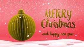 Rojo y mensaje del saludo de la Feliz Navidad de la decoración de la bola del árbol de Navidad del oro y de la Feliz Año Nuevo en metrajes