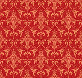 Rojo y ornamento del oro stock de ilustración