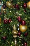 Rojo y ornamentos del oro en un árbol de navidad Fotos de archivo