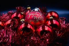 Rojo y oro de las bolas de la Navidad Fotografía de archivo