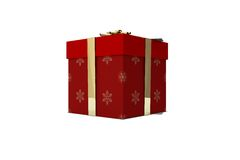 Rojo y regalo de la Navidad del oro Fotos de archivo libres de regalías