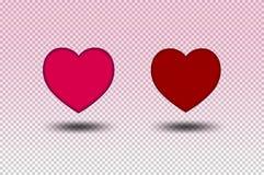 Rojo y rosa del color del corazón en fondo transparente stock de ilustración
