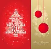 Rojo y tarjeta de Navidad del oro Foto de archivo libre de regalías